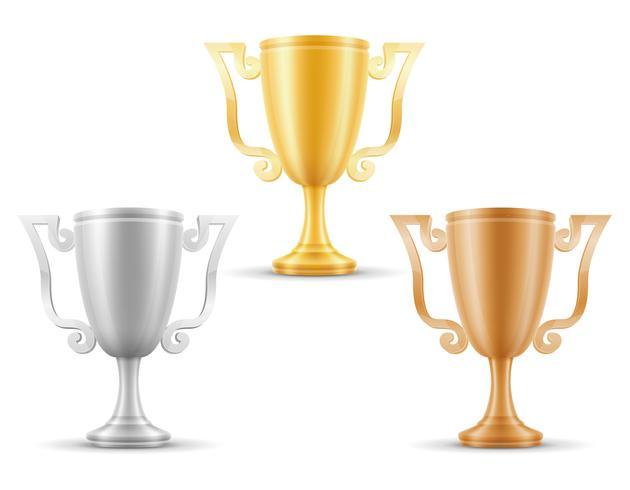 cup winner gold silver bronze stock vector illustration