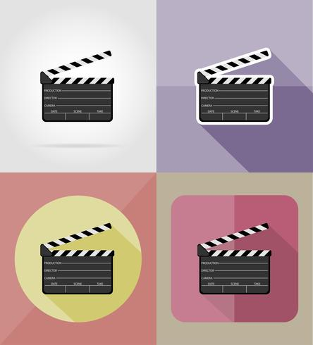 clapper board flat icons vector illustration