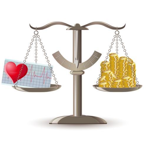 Escala de elección de salud o dinero. vector