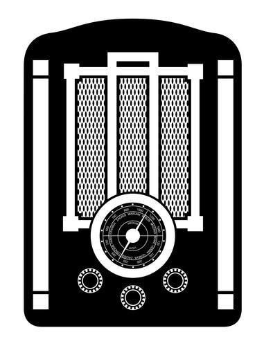 radio viejo retro vintage icono stock vector ilustración negro contorno silueta
