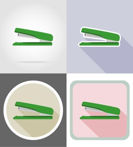 Hefter Schreibwaren Ausrüstung Set flache Ikonen Vektor-Illustration