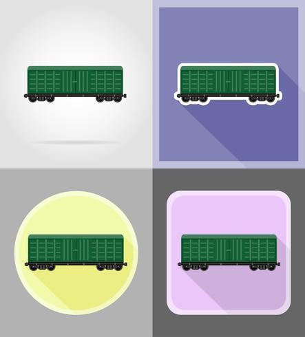 ferroviaria, tren, plano, iconos, vector, ilustración