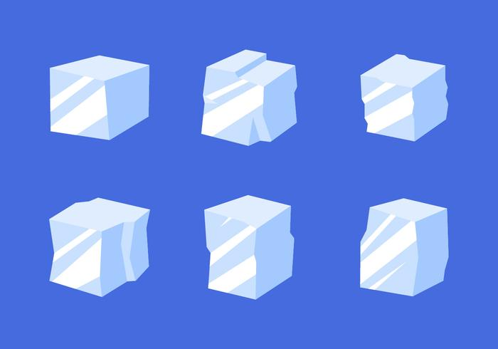Flat Ice Cube Clipart Vector