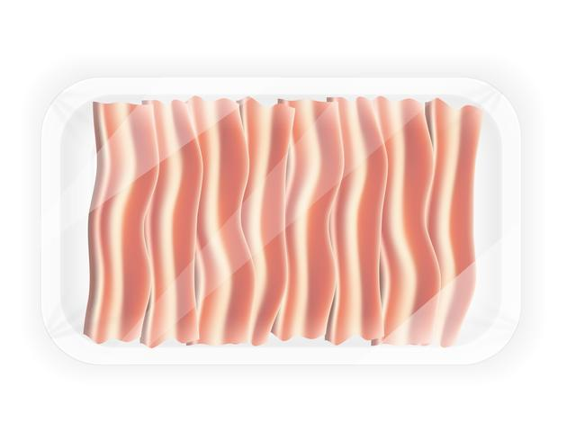 sliced bacon in the package vector illustration