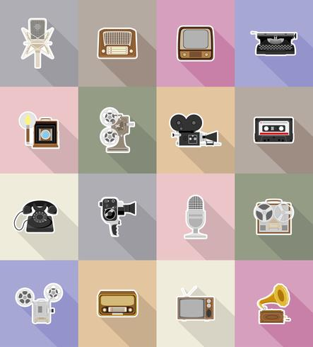 old retro vintage multimedia flat icons vector illustration