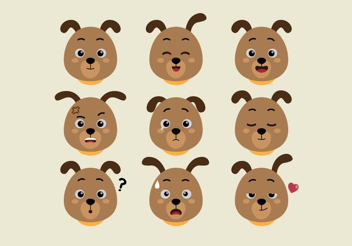 Conjunto de expresiones de caras de perros