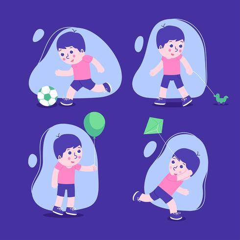 Conjunto de caracteres de los niños con los niños jugando.