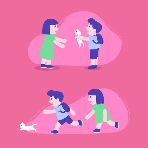 Los niños juegan con el gato