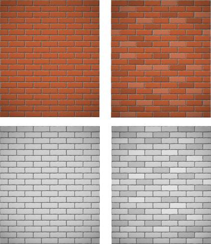 mur de fond sans couture de briques blanches et rouges