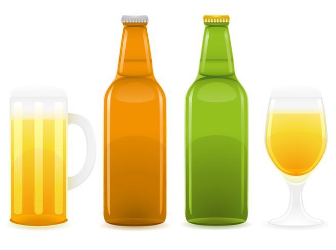 bierfles en glas vectorillustratie