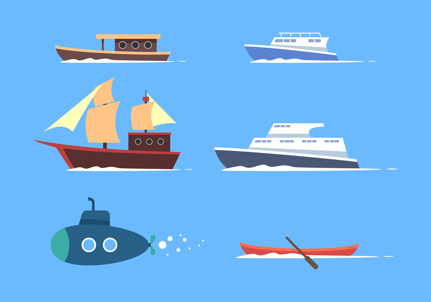 Water Transportation Clipart Vector Set - Download Free ...