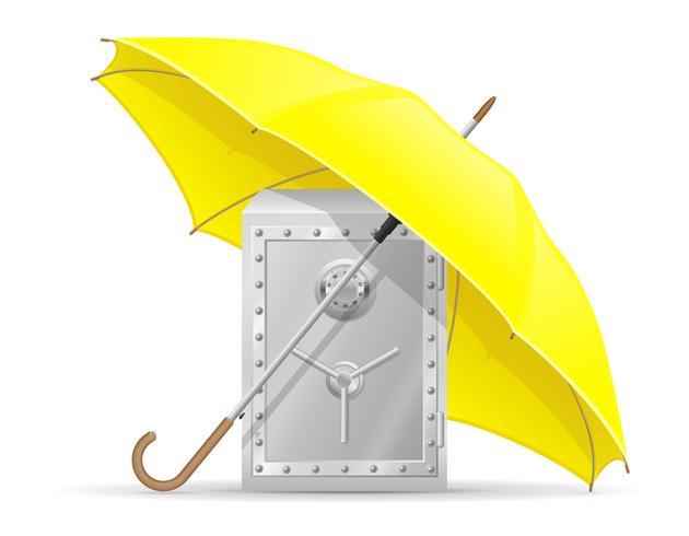 concepto de caja fuerte protegida y asegurada con dinero ilustración vectorial paraguas
