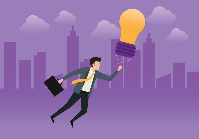 Business Man Flying With Idea Bulb