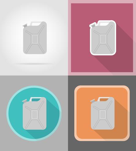 Jerrycan metálico iconos planos vector illustration