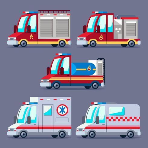 Conjunto de imágenes prediseñadas de transporte de bomberos