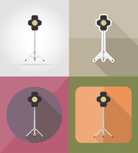 Ilustración de vector de iconos plana de proyector de película