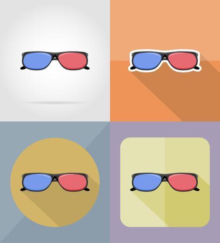 Gafas de cine iconos planos vector illustration