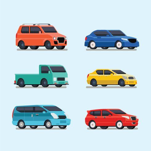 Conjunto de ilustración de vehículo de transporte
