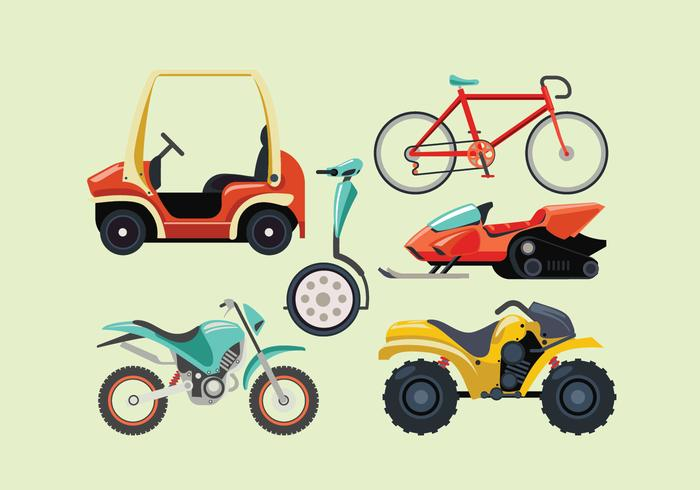 Set of Terrain Vehicle Trannsportation vector