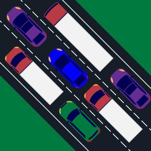 Vista dall'alto dei trasporti dei veicoli