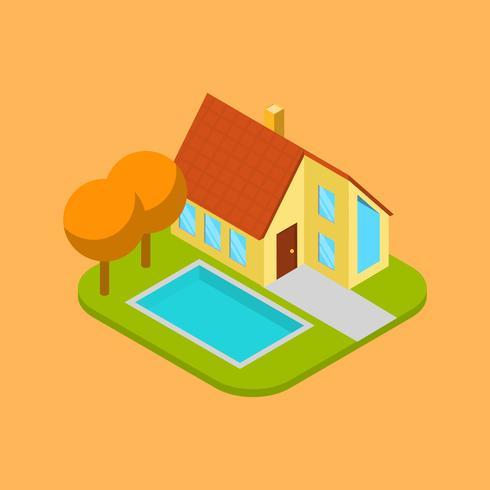 Flaches isometrisches Haus mit Pool