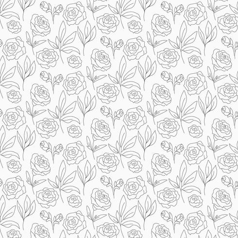 Vector Outline Floral Seamless Pattern