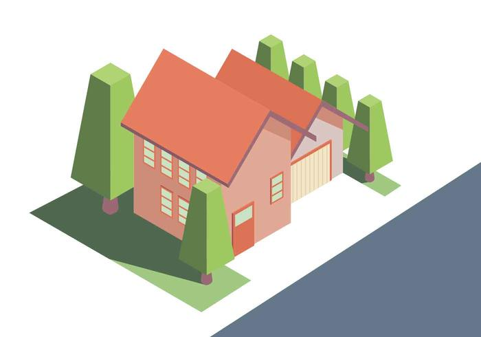 Isometrische Haus-Vektor-Illustration