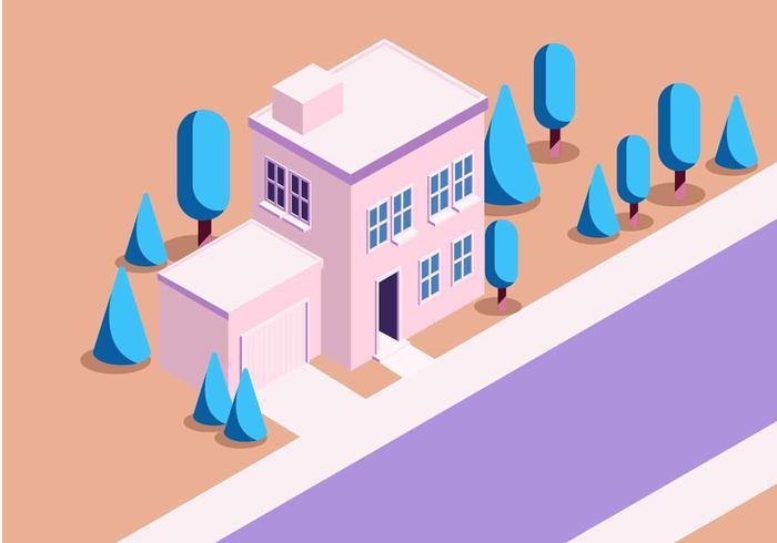 Isometrische huis vectorillustratie