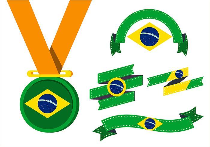 Brasil Flag Clipart Set vector