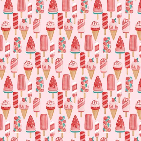 Vector Seamless Ice Cream Pattern