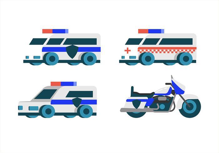 Conjunto de imágenes prediseñadas de transporte de policía