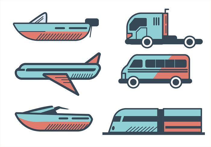 Conjunto de imágenes prediseñadas de transporte en estilo de línea gruesa