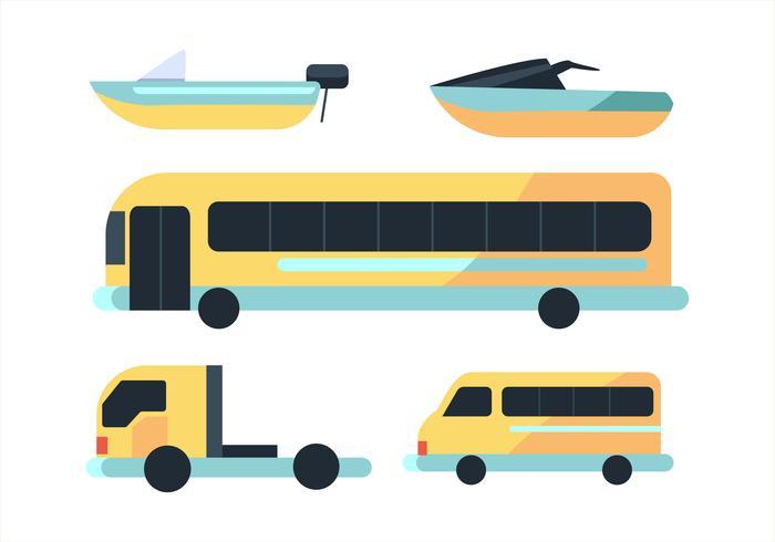 Conjunto de imágenes prediseñadas de transporte en diseño plano