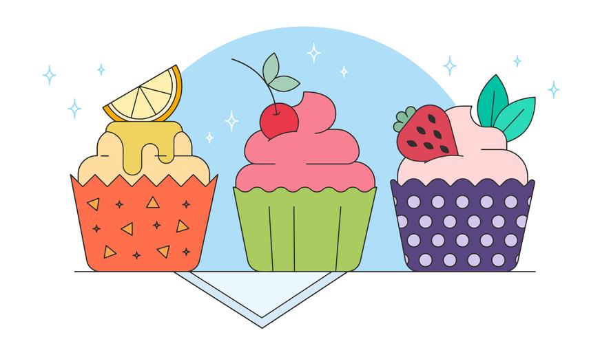 vector de cupcakes