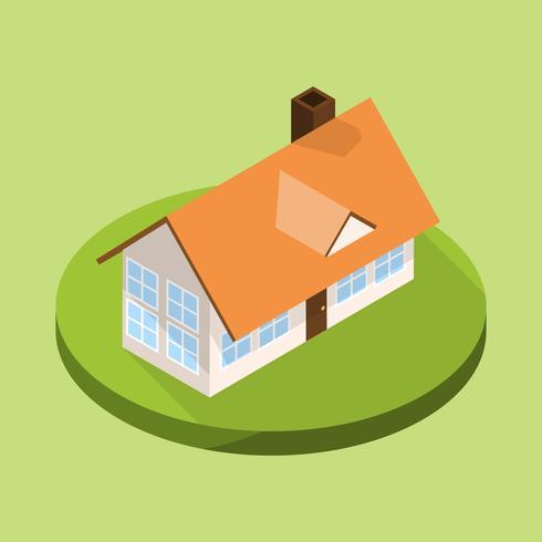 Platte moderne huis isometrische stijl