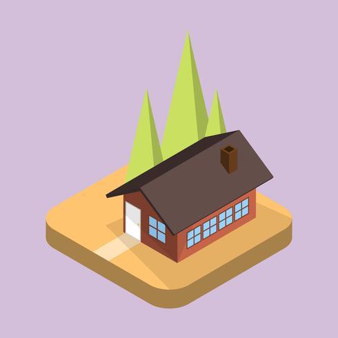 Flache einfache isometrische Haus-Vektor-Illustration
