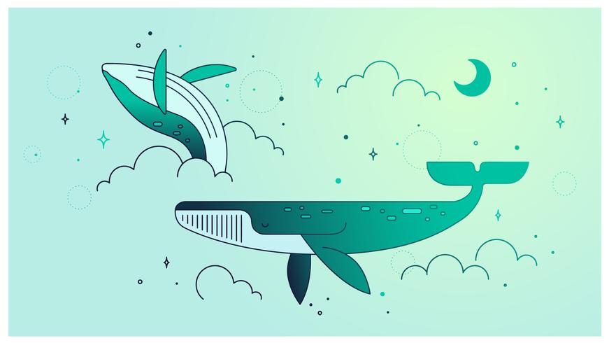 Ballenas en un vector de sueño