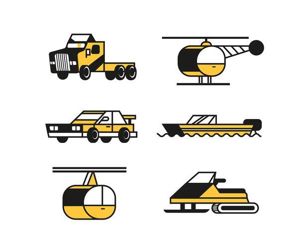 Clipart de transporte definido em linhas grossas