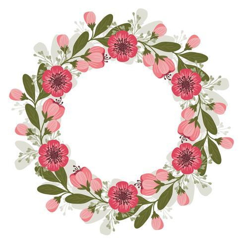 Vector roze bloemen krans