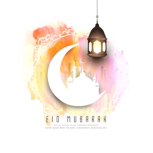 Abstract Eid Mubarak watercolor background design