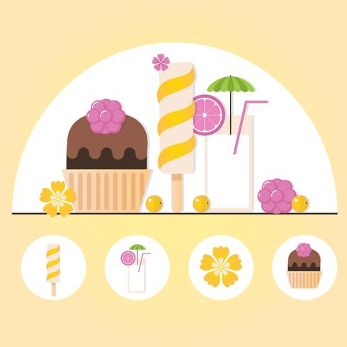 Vektor-Sommerzeit-Element-Illustration