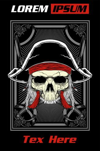Skull pirate vector.detail hand drawing