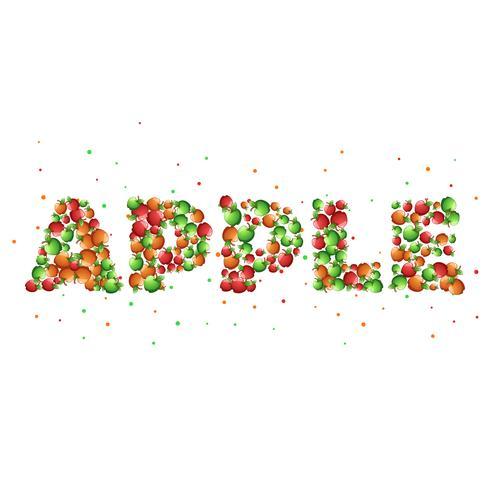 Apple de palavra dos desenhos animados. Desenhos animados verdes, vermelhos e amarelos.