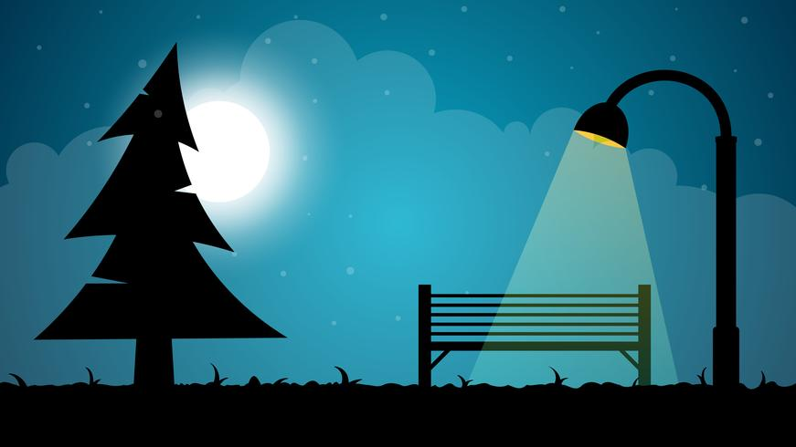 Reise Nacht Cartoon Landschaft. Tanne, Mond, Shop, Laterneabbildung.