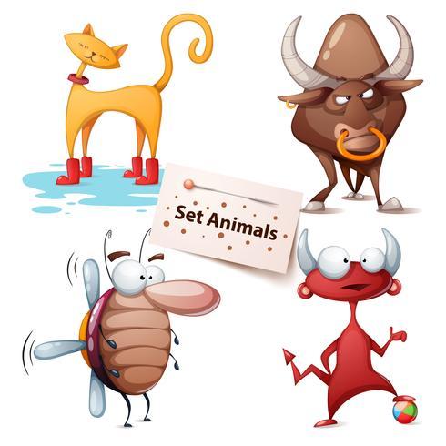 Cat, bull, cockroach, devil - set animals vector