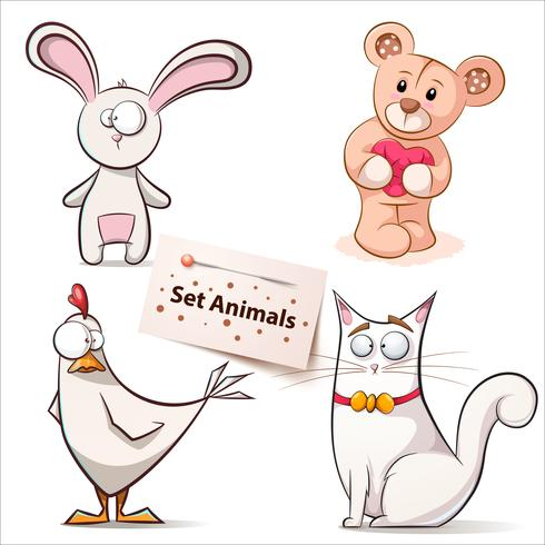Rabbit, hen, bear, cat - set animals. vector