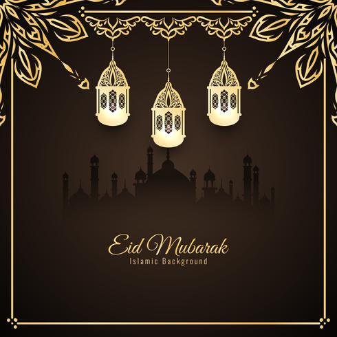 Disegno astratto di sfondo elegante Eid Mubarak