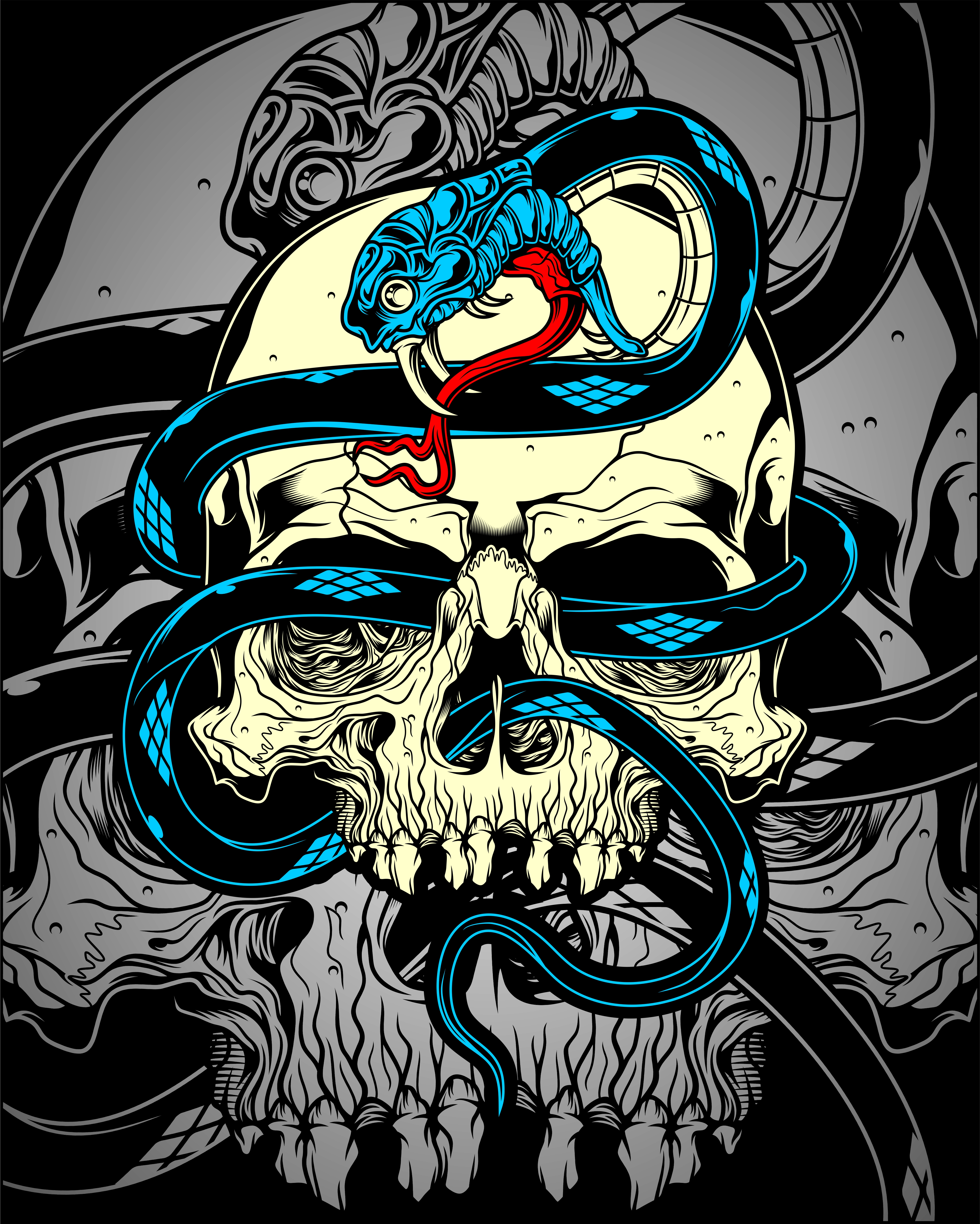 Skull With Snake Download Free Vector Art Stock