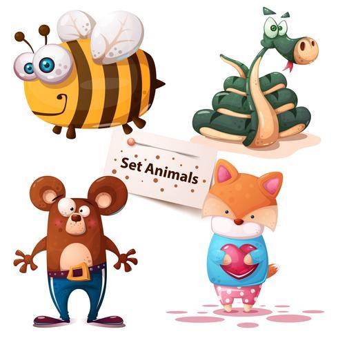 Bee, snake, bear, fox - set animals