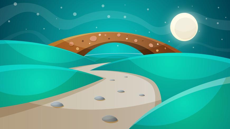 Nachtbrug - beeldverhaalillustratie.